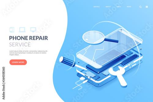 Fototapeta Smartphone repair service vector illustration. Disassembled smartphone in isometric view. Mobile phone repair process. Fix gadgets web banner concept. obraz