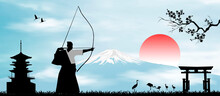 Japanese Archer On The Backgro...