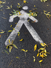 Pedestrian Way Sign On Ground ...