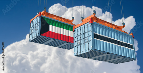 Fotomural Freight containers with Kuwait and Botswana flag. 3D Rendering