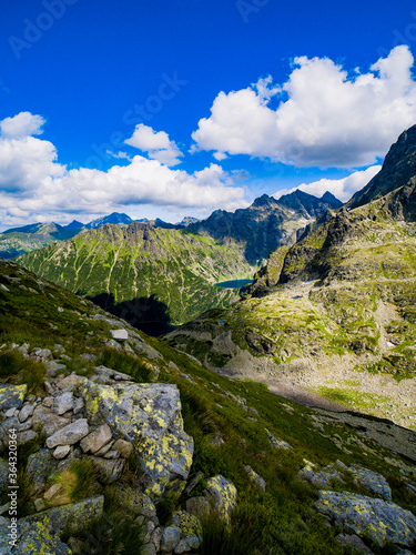 Fototapety, obrazy: mountain landscape with lake and mountains in tatra mountains