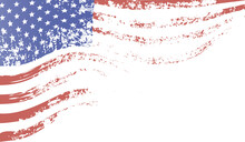Developing American Grunge Flag Fragment. Abstract Background.