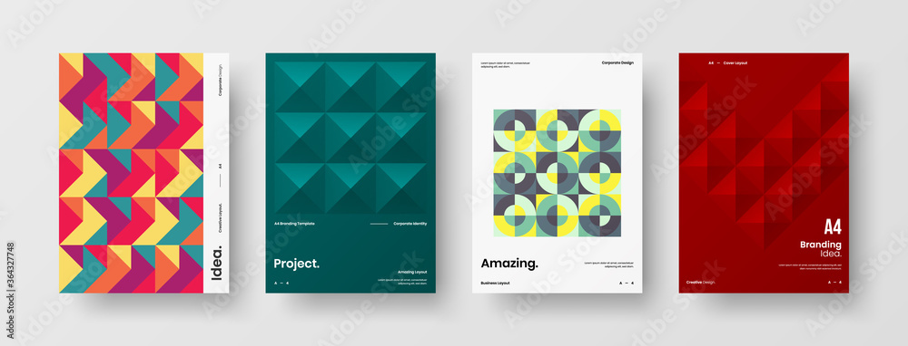 Fototapeta Company identity brochure template collection. Business presentation vector A4 vertical orientation front page mock up set. Corporate report cover abstract geometric illustration design layout bundle.