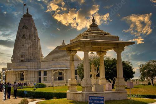 Jaipur, India - October 21, 2012: wide angle shot of Iskon krishna hindu Temple Canvas Print