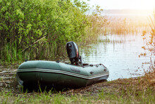 Motor Rubber Boat On The Lake....