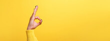Hand Ok Sign Over Trend Yellow...