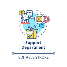 Support Department Concept Icon. Tech Help For Customers. Helpline For Consumers. Product Management Idea Thin Line Illustration. Vector Isolated Outline RGB Color Drawing. Editable Stroke