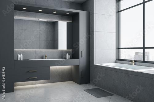 Fototapeta Gray bathroom interior with bath and city view. obraz