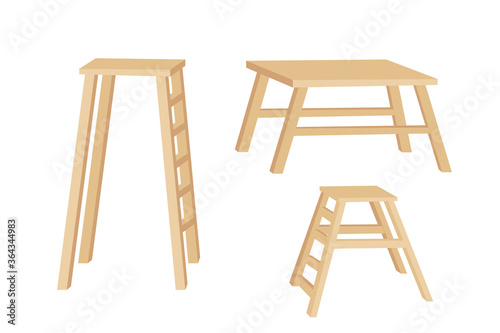 Fotografia, Obraz Set of wooden tables and ladder for bakery with different heights flat vector il