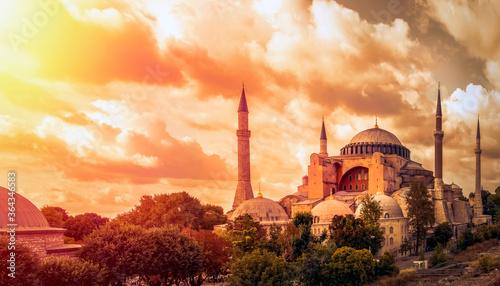 Leinwand Poster Istanbul Turkey – April 05, 2019:  Sunny day architecture and Hagia Sophia Museu