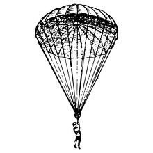 Vintage Engraving Of A Man Landing On A Parachute