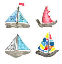 Watercolor Set Of Vintage Sailing Ships Isolated On White Background.