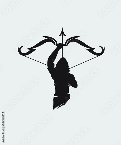 Lord rama vector graphic design with holding Bow and Arrow amazing vector art Fototapet