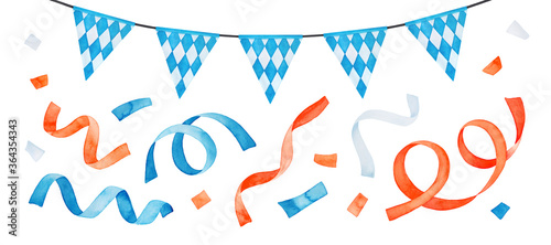 Foto Watercolor drawing of festive garland with Bavarian flag and colorful confetti set