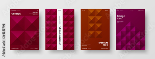 Obraz Company identity brochure template collection. Business presentation vector A4 vertical orientation front page mock up set. Corporate report cover abstract geometric illustration design layout bundle. - fototapety do salonu