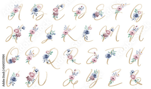 Alphabet, letters with watercolor flowers and leaf hand painting. Floral monogram initials perfectly for wedding invitation, greeting card, logo, poster and other design.