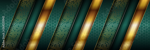 Fototapeta Luxury dark green overlap background with realistic gold line and hexagon on shiny golden obraz
