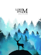 A Deer On A Hill In The Blue F...