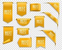 Golden Banners, Corners For Web Site, Vector Price Ribbons, Labels And Tags. Best Price Golden Banners For Online Shop And Web Store, Bookmarks And Tags, Flags And Curved Ribbons For Website