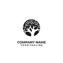Black White Tree Silhouette Logo Vector Stock Vector