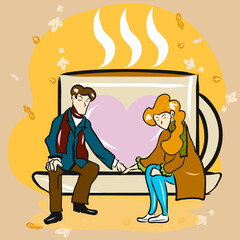 couple siting on coffee cup  in autumn season vector image.