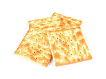 Square Crackers Isolated On Wh...