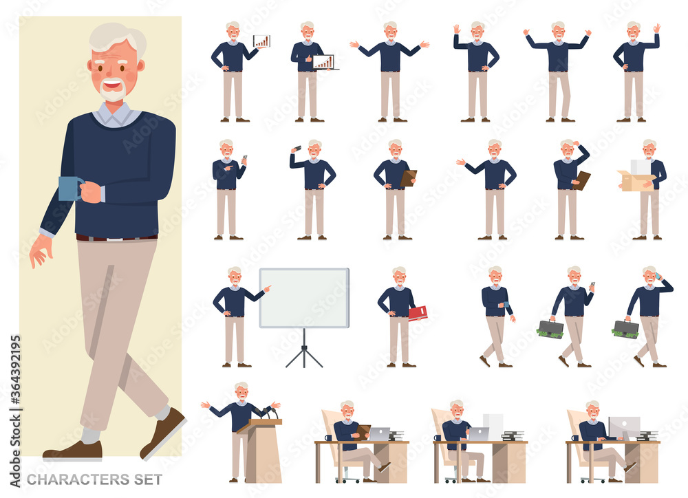 Fototapeta Set of businessman character vector design. Presentation in various action with emotions, running, standing and walking. People working in office planning, thinking and economic analysis.
