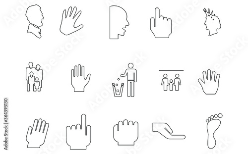Fotomural people line icon set.