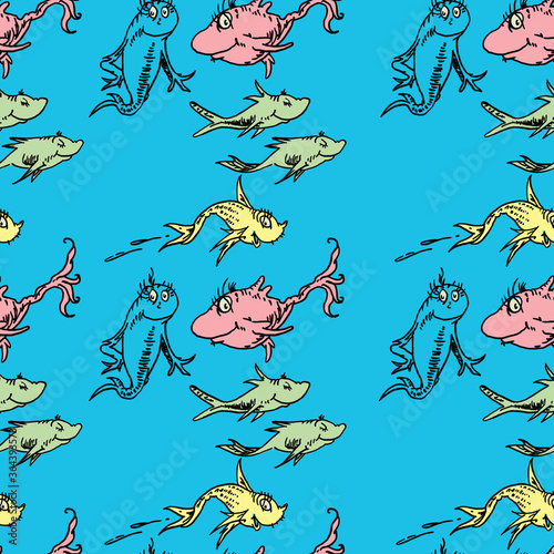 Dr. Seuss Inspired Fish Seamless Pattern Tile Wallpaper Canvas Print