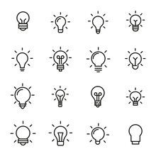 Set Of Light Bulb Icons In Mod...