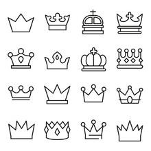 Set Of Crown In Modern Thin Li...