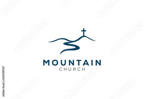 church logo designs with mountain Fotobehang