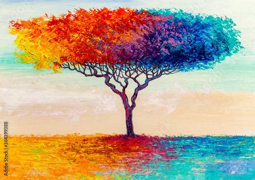 Fototapeta Oil painting landscape. Colorful autumn tree. Abstract style. obraz na płótnie