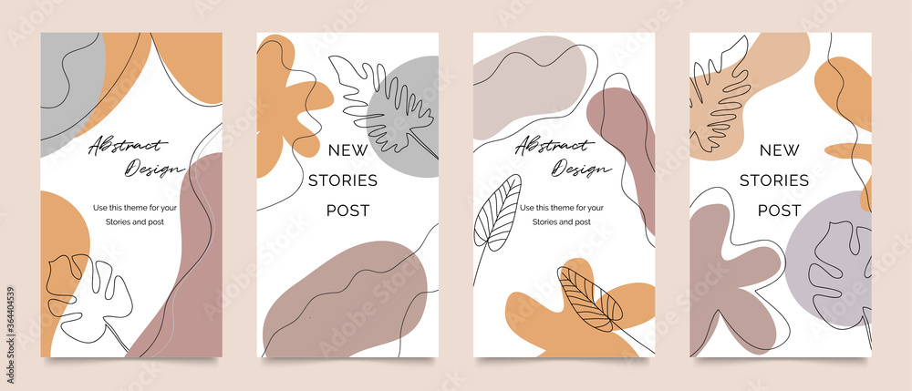 Fototapeta Social media stories and post template vector set. Abstract shapes cover background with floral and copy space for text and images. Vector illustration.
