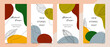 Social media stories and post template vector set. Abstract shapes cover background with floral and copy space for text and images. Vector illustration.
