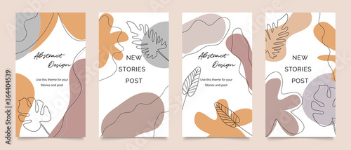Obraz Social media stories and post template vector set. Abstract shapes cover background with floral and copy space for text and images. Vector illustration. - fototapety do salonu