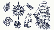 Pirates Elements. Tattoo Vecto...