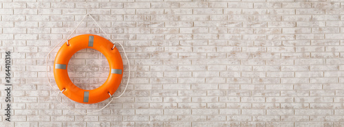 Lifebuoy ring on brick wall with space for text Fotobehang