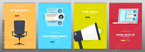 Fotografía We are hiring. Set of Recruiting banners. Vector illustration.