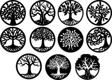 Tree Inside Circle, Tree Of Life Laser Cutting Template Trees Silhouette
