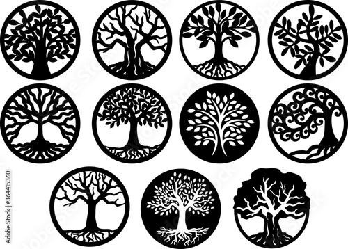 Fotomural Tree Inside Circle, Tree of Life Laser Cutting Template Trees Silhouette