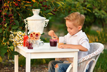 Child Have Breakfast Outdoor I...