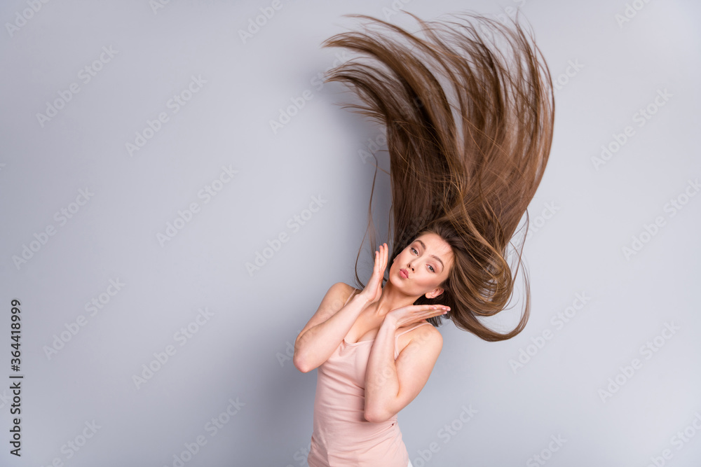 Fototapeta Portrait of her she nice attractive charming lovely pretty cheery brown-haired girl throwing silky hair effective salon procedure recovery pout lips isolated on light gray pastel color background