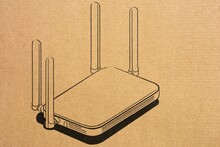 Wireless Router Picture On Light Brown Paper Box Background.