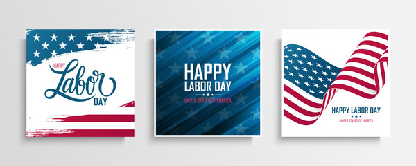 United States Labor Day greeting cards set with the american national flag. Happy Labor Day. USA national holiday vector illustration.