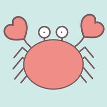 Cute Crab Cartoon Character Ve...