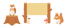 リスと木の看板のイラスト (横長)