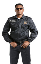 Aggressive African-American Police Officer On White Background