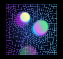 Distorted Neon Grid Pattern An...