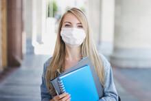 Caucasian Student Girl Wearing...